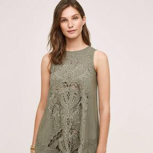 ANTHROPOLOGIE Cutwork Tunic Dress 2 NWT $178 Moss